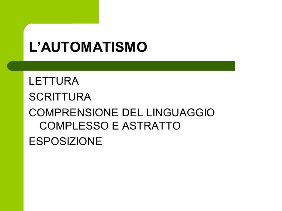 L'AUTOMATISMO LETTURA SCRITTURA