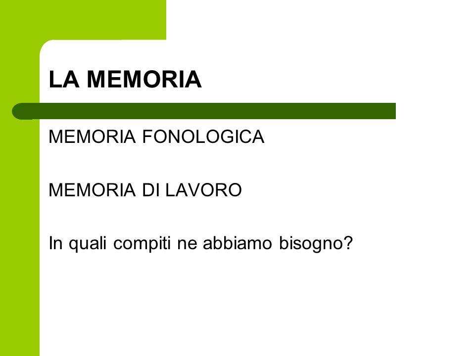 LA MEMORIA MEMORIA FONOLOGICA MEMORIA DI LAVORO