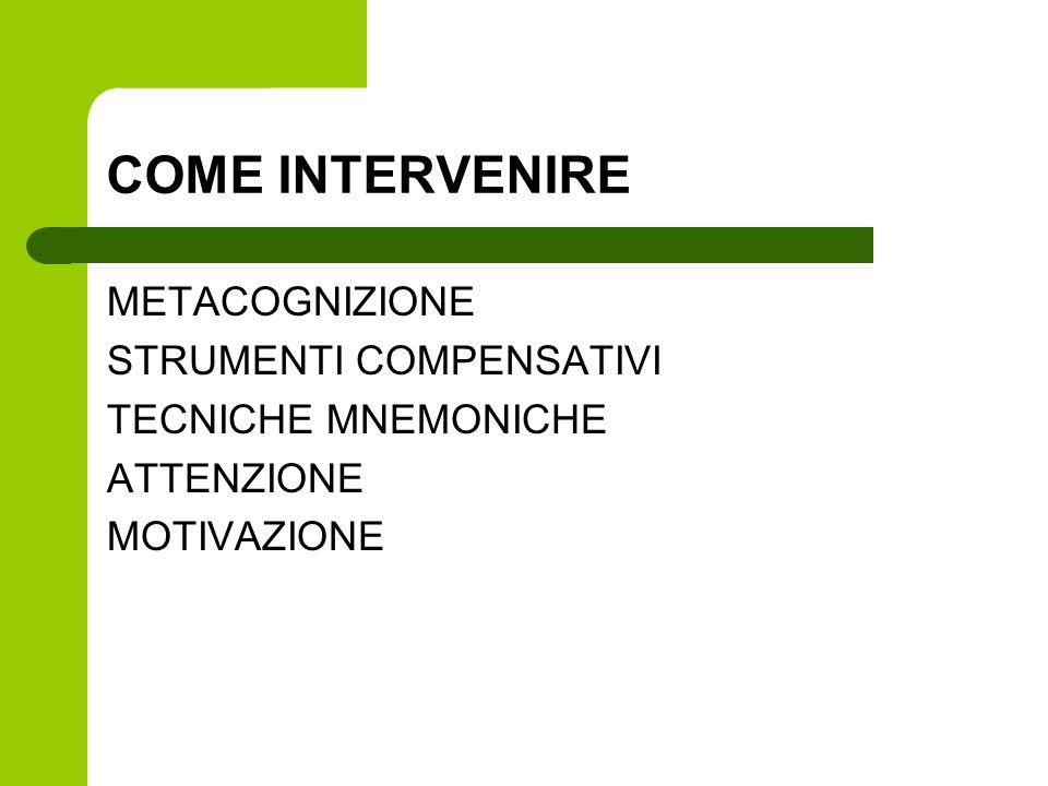 COME INTERVENIRE METACOGNIZIONE STRUMENTI COMPENSATIVI
