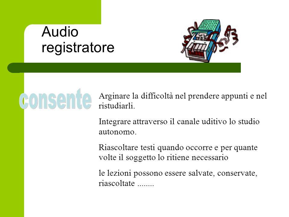 Audio registratore consente
