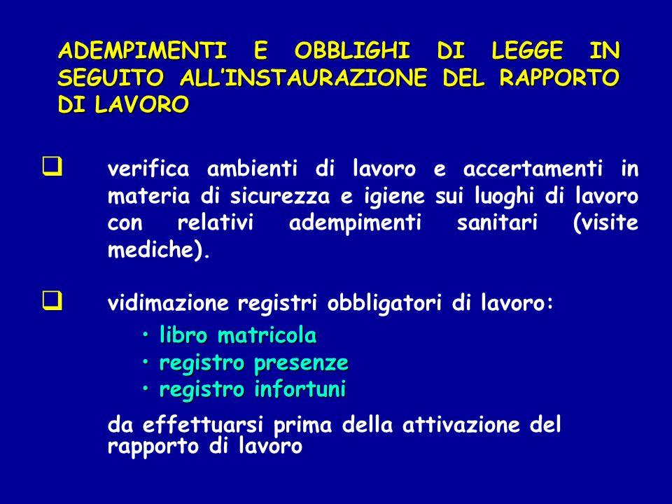 ADEMPIMENTI E OBBLIGHI DI LEGGE IN SEGUITO ALL'INSTAURAZIONE DEL RAPPORTO DI LAVORO