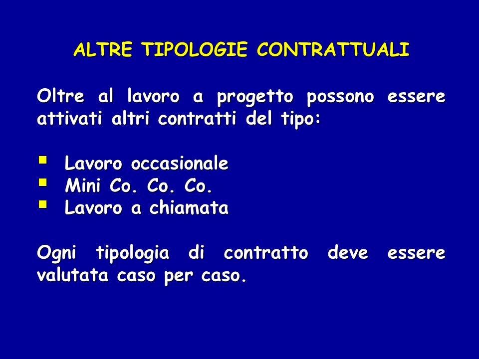 ALTRE TIPOLOGIE CONTRATTUALI