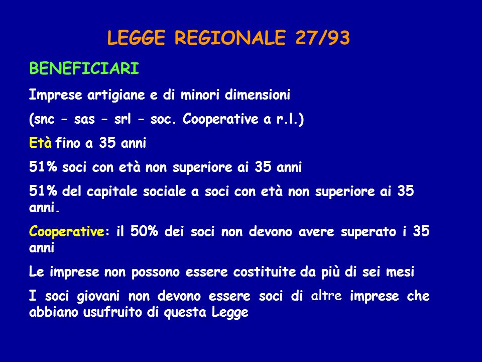 LEGGE REGIONALE 27/93 BENEFICIARI