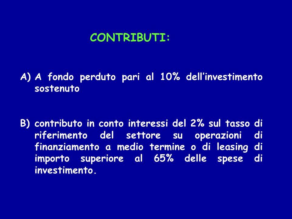 CONTRIBUTI: A fondo perduto pari al 10% dell'investimento sostenuto.