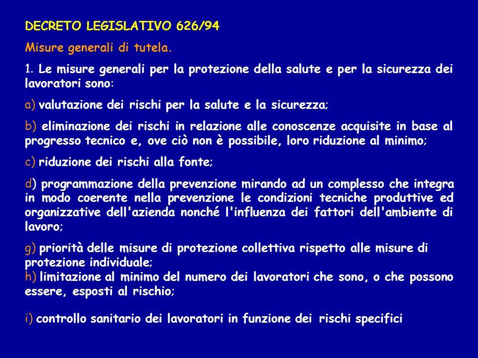 DECRETO LEGISLATIVO 626/94Misure generali di tutela. 1. Le misure generali per la protezione della salute e per la sicurezza dei lavoratori sono: