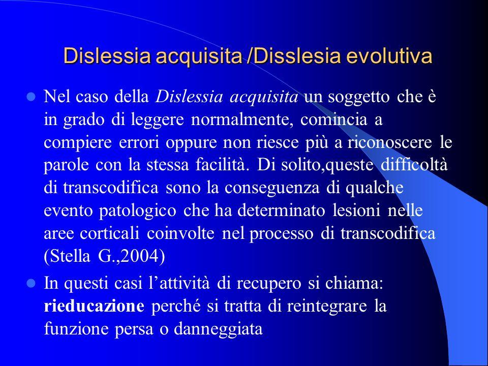 Dislessia acquisita /Disslesia evolutiva