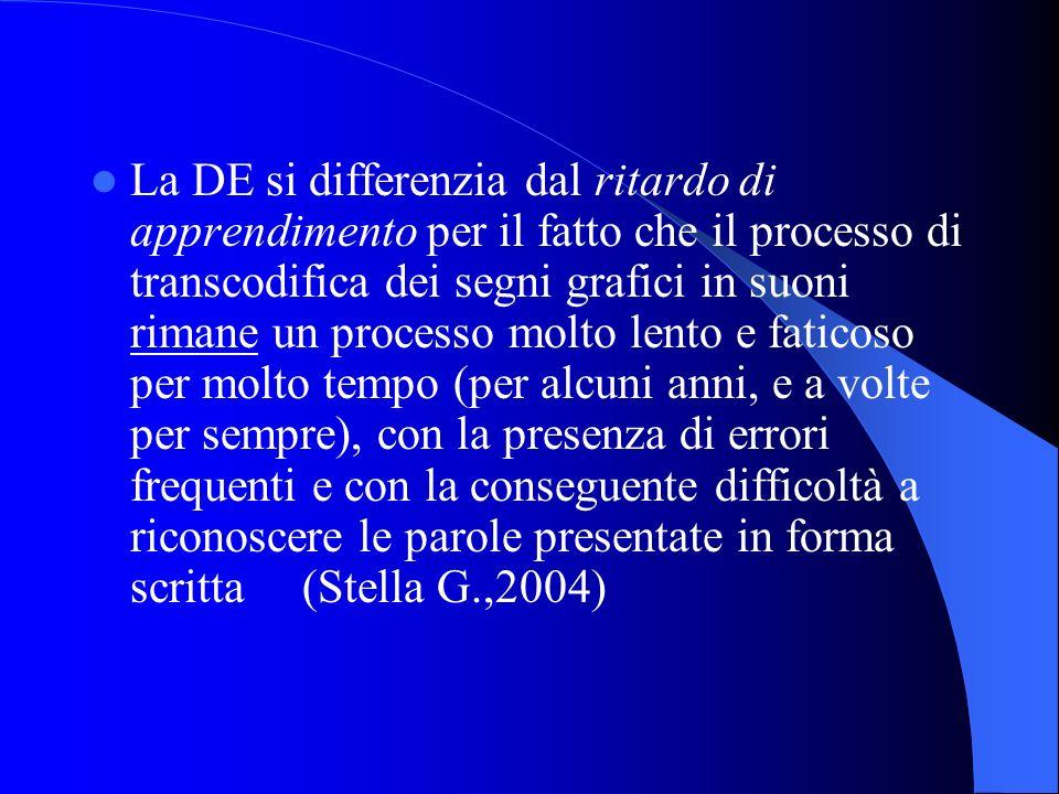 La DE si differenzia dal ritardo di apprendimento per il fatto che il processo di transcodifica dei segni grafici in suoni rimane un processo molto lento e faticoso per molto tempo (per alcuni anni, e a volte per sempre), con la presenza di errori frequenti e con la conseguente difficoltà a riconoscere le parole presentate in forma scritta (Stella G.,2004)