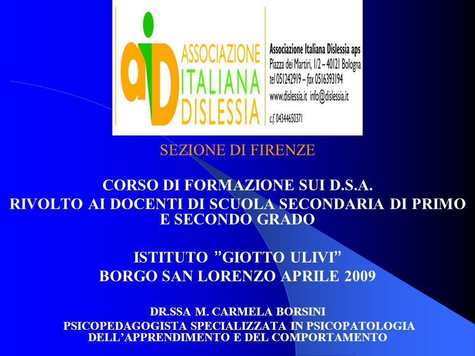 CORSO DI FORMAZIONE SUI D.S.A.