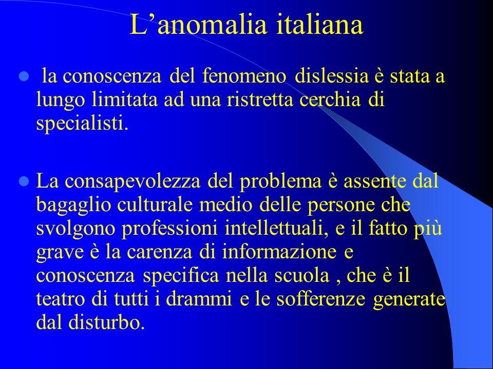 L'anomalia italianala conoscenza del fenomeno dislessia è stata a lungo limitata ad una ristretta cerchia di specialisti.