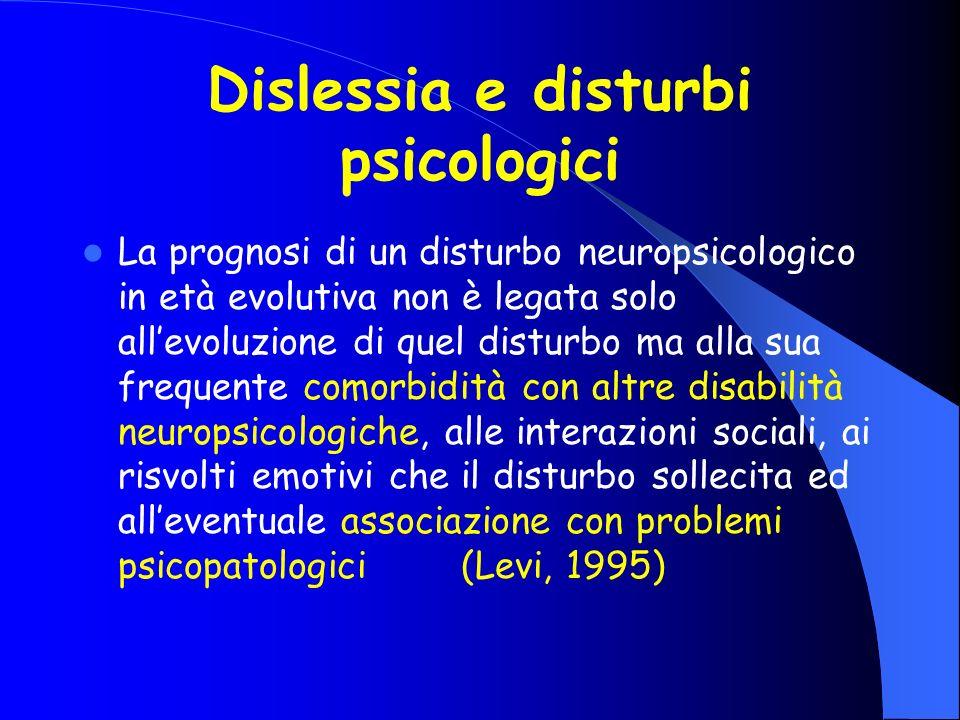 Dislessia e disturbi psicologici