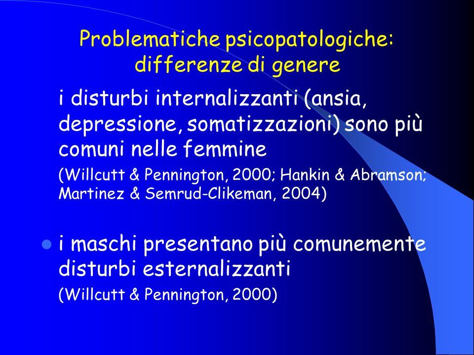 Problematiche psicopatologiche: differenze di genere