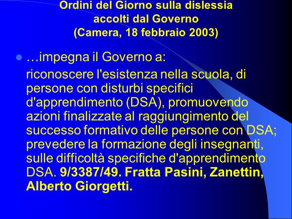 Ordini del Giorno sulla dislessia accolti dal Governo (Camera, 18 febbraio 2003)