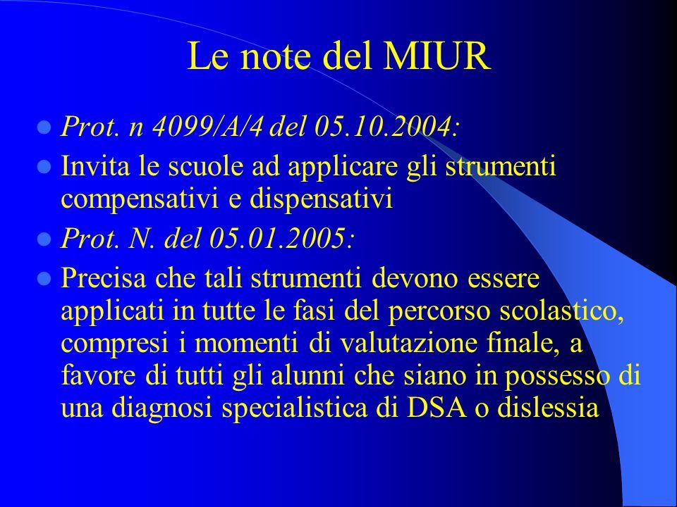 Le note del MIUR Prot. n 4099/A/4 del 05.10.2004: