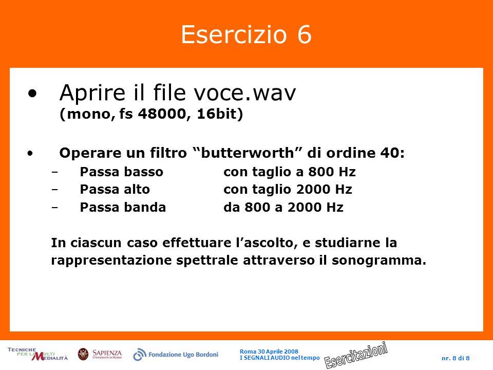 Esercizio 6 Aprire il file voce.wav (mono, fs 48000, 16bit)