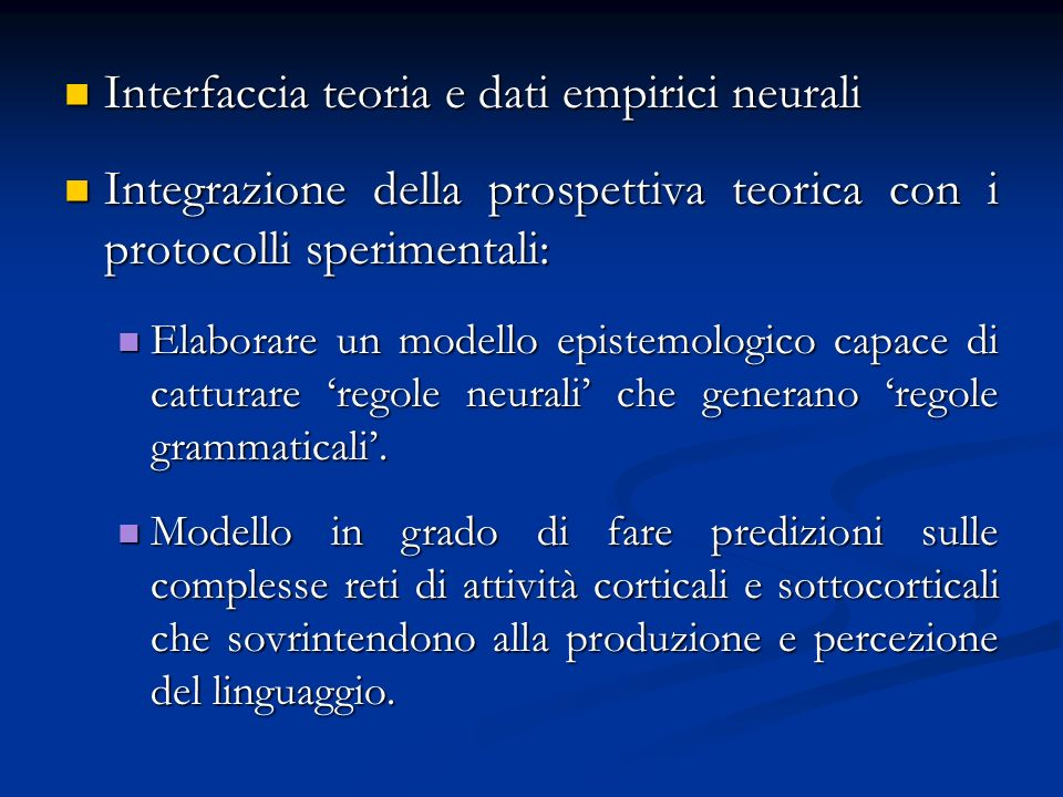 Interfaccia teoria e dati empirici neurali