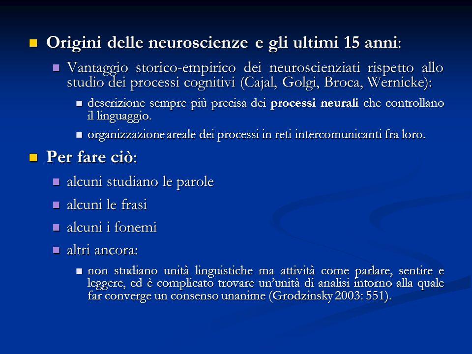 Origini delle neuroscienze e gli ultimi 15 anni: