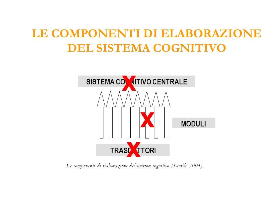 X X X LE COMPONENTI DI ELABORAZIONE DEL SISTEMA COGNITIVO