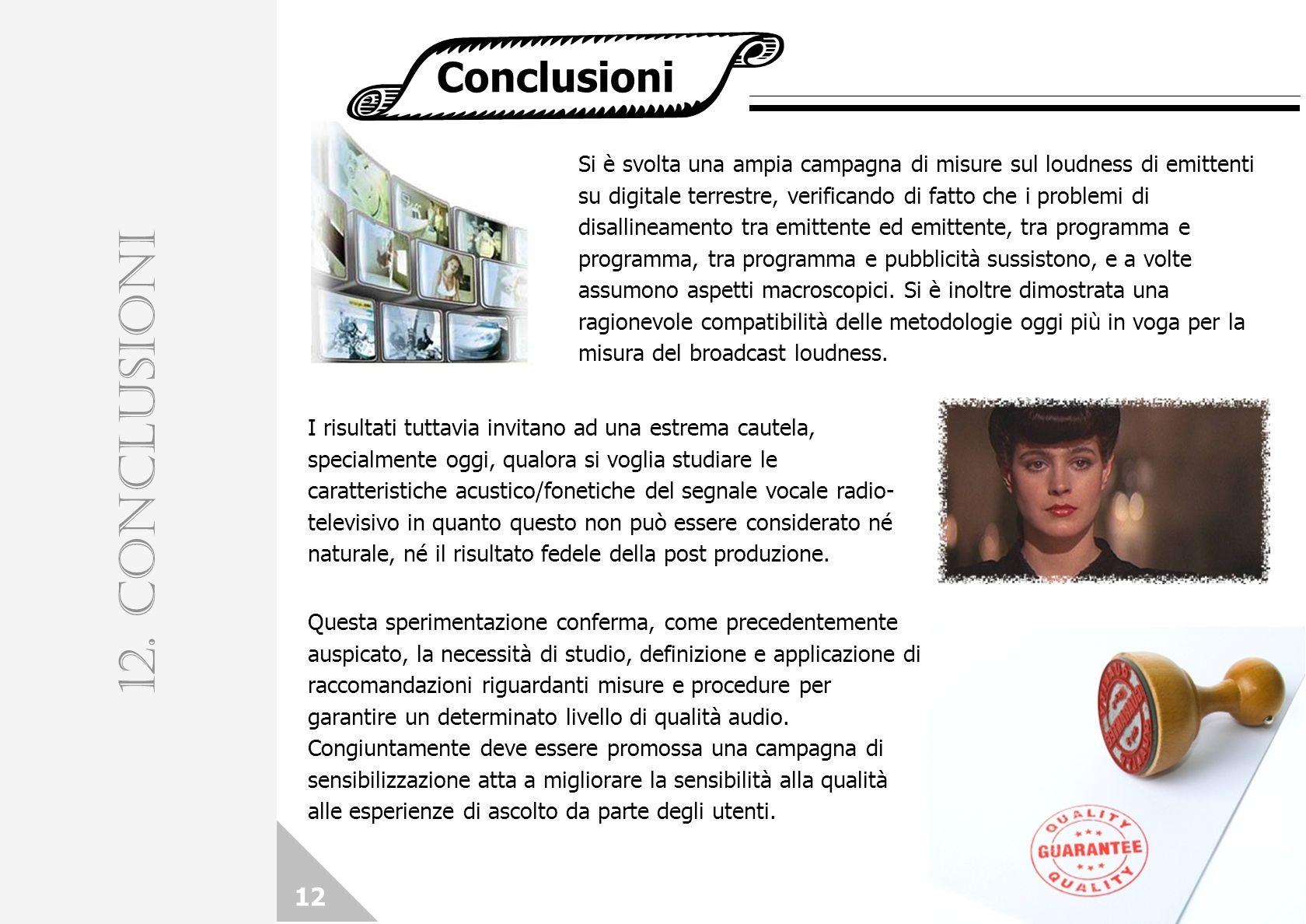 12. CONCLUSIONI Conclusioni 12