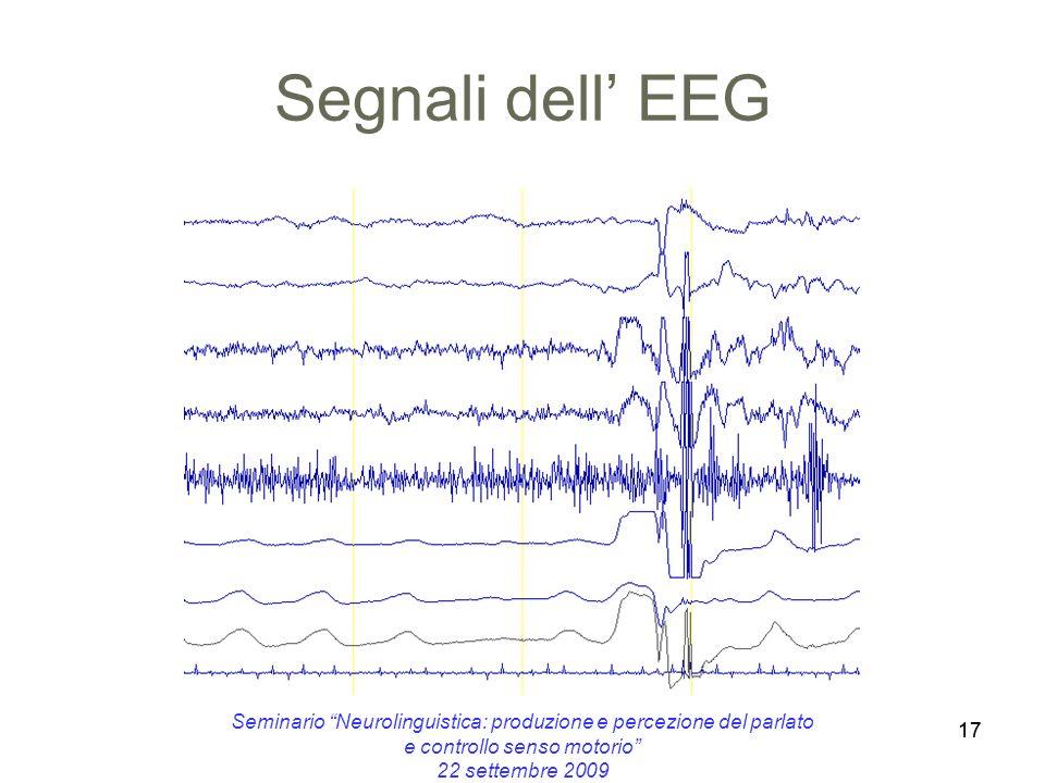 Segnali dell' EEG Seminario Neurolinguistica: produzione e percezione del parlato e controllo senso motorio