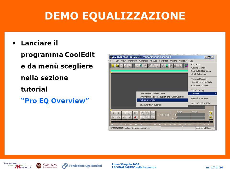 DEMO EQUALIZZAZIONE Lanciare il programma CoolEdit e da menù scegliere nella sezione tutorial Pro EQ Overview