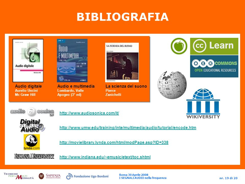 BIBLIOGRAFIA Audio digitale Audio e multimedia La scienza del suono