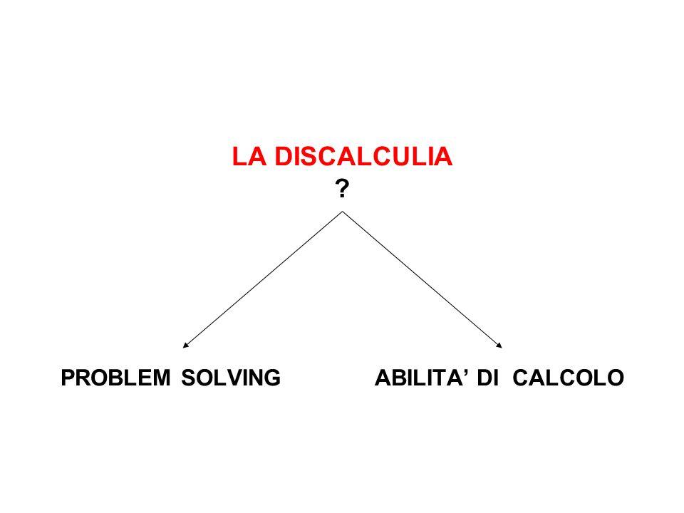 LA DISCALCULIA PROBLEM SOLVING ABILITA' DI CALCOLO