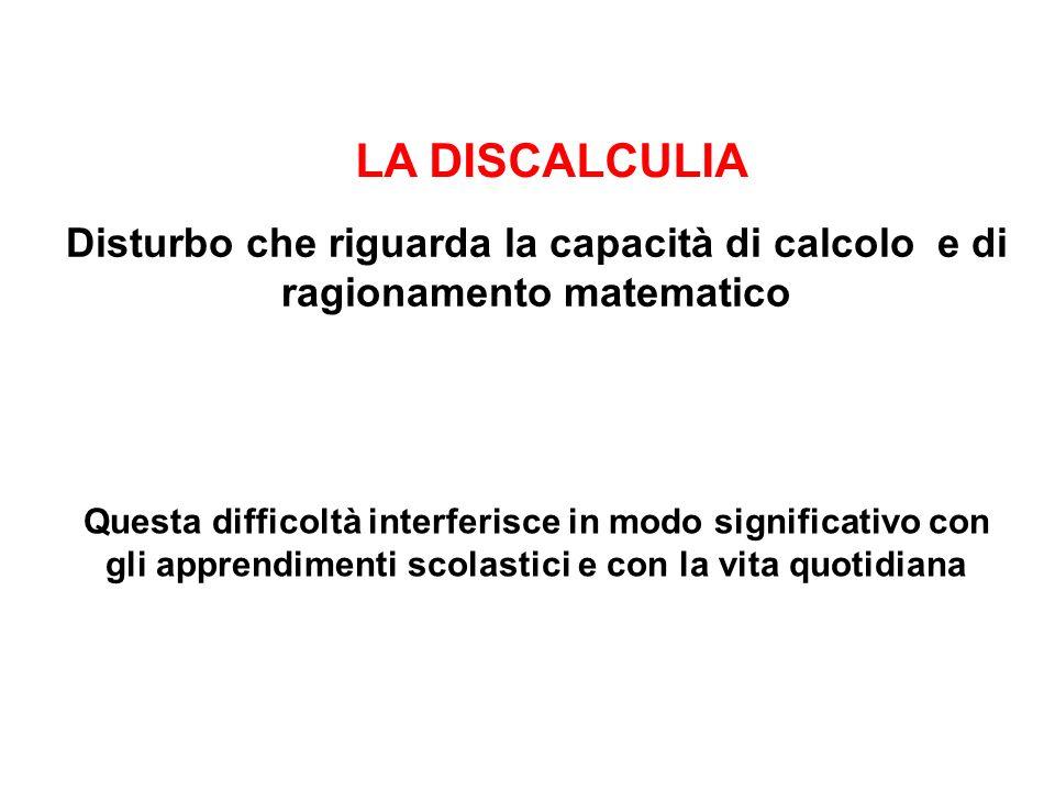 LA DISCALCULIA Disturbo che riguarda la capacità di calcolo e di ragionamento matematico.