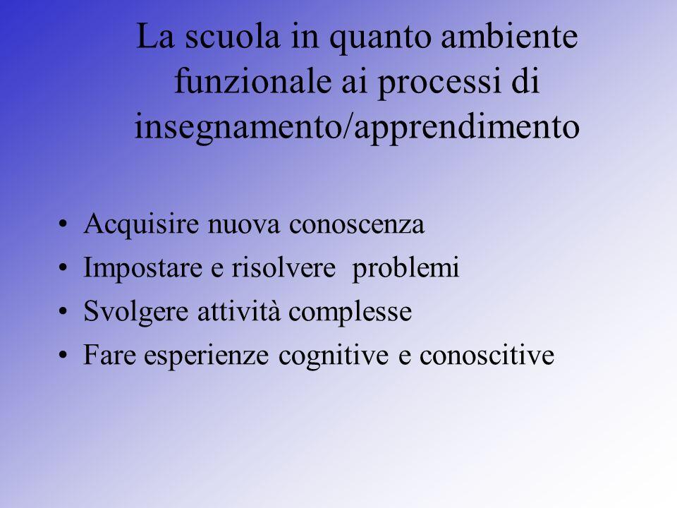 La scuola in quanto ambiente funzionale ai processi di insegnamento/apprendimento