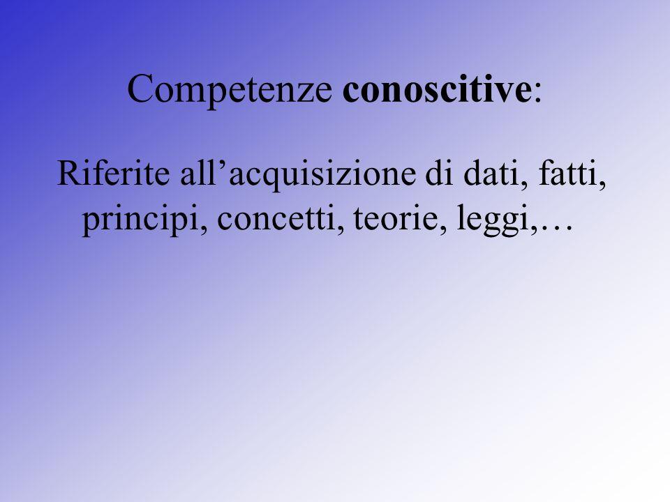 Competenze conoscitive: