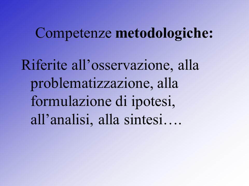 Competenze metodologiche: