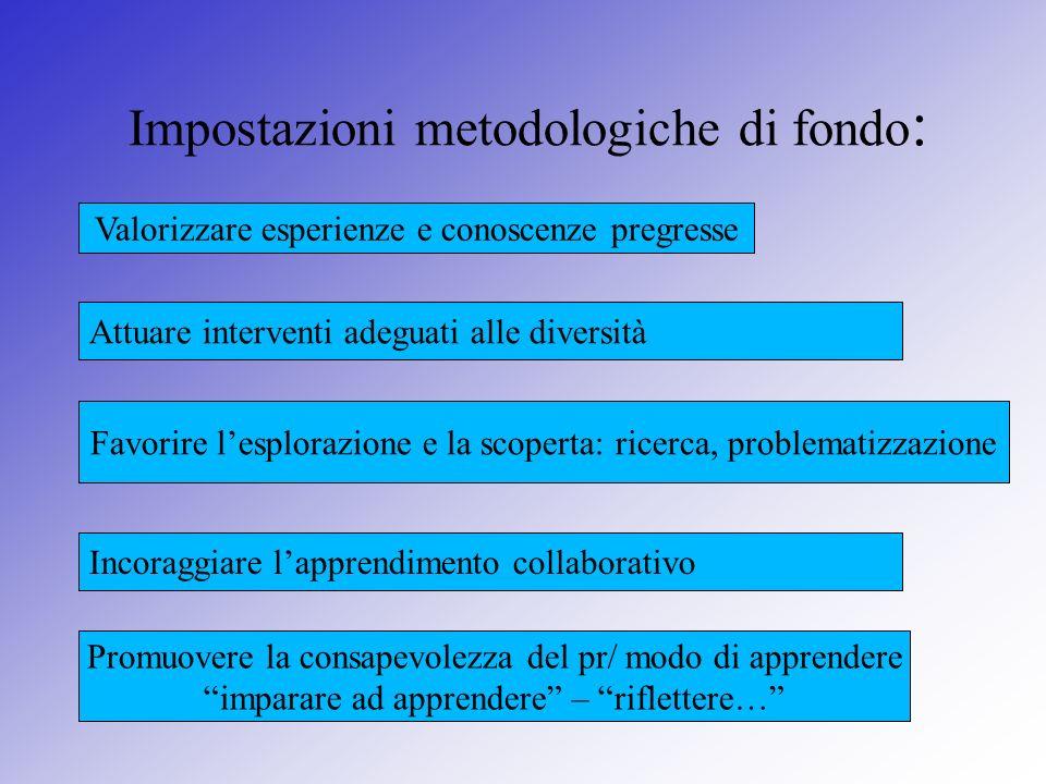 Impostazioni metodologiche di fondo:
