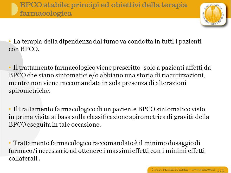 BPCO stabile: principi ed obiettivi della terapia farmacologica