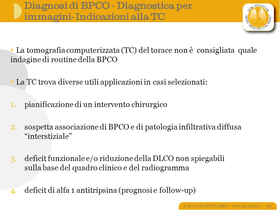 Diagnosi di BPCO - Diagnostica per immagini- Indicazioni alla TC