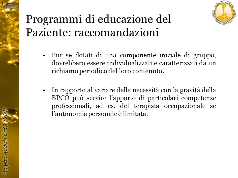 Programmi di educazione del Paziente: raccomandazioni