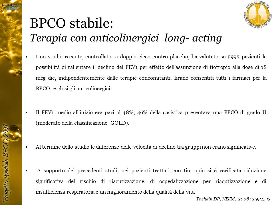 BPCO stabile: Terapia con anticolinergici long- acting