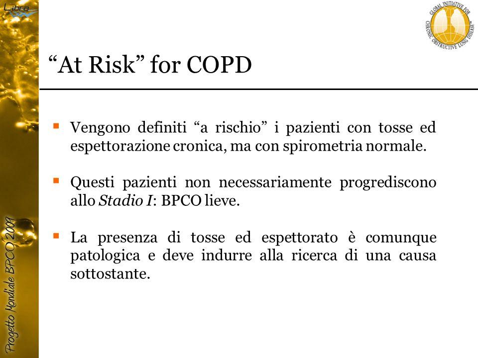 At Risk for COPD Vengono definiti a rischio i pazienti con tosse ed espettorazione cronica, ma con spirometria normale.