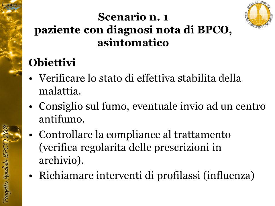 Scenario n. 1 paziente con diagnosi nota di BPCO, asintomatico