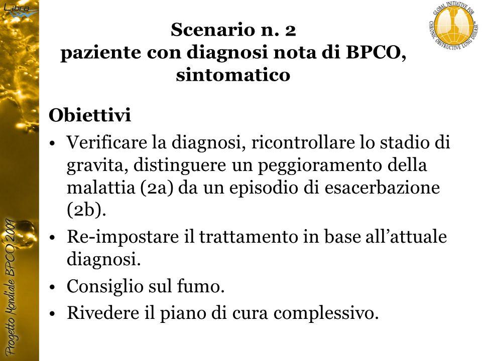 Scenario n. 2 paziente con diagnosi nota di BPCO, sintomatico