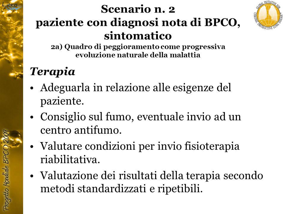 Scenario n. 2 paziente con diagnosi nota di BPCO, sintomatico 2a) Quadro di peggioramento come progressiva evoluzione naturale della malattia