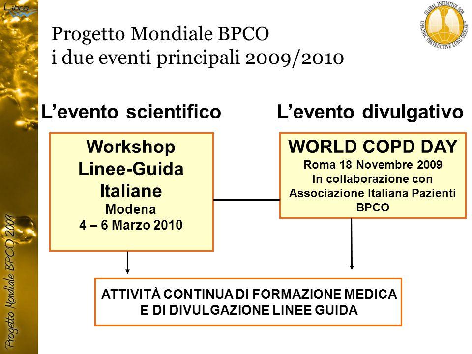 Progetto Mondiale BPCO i due eventi principali 2009/2010