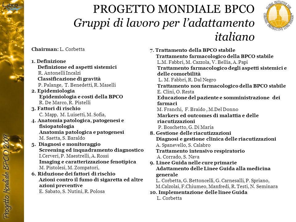 PROGETTO MONDIALE BPCO Gruppi di lavoro per l'adattamento italiano
