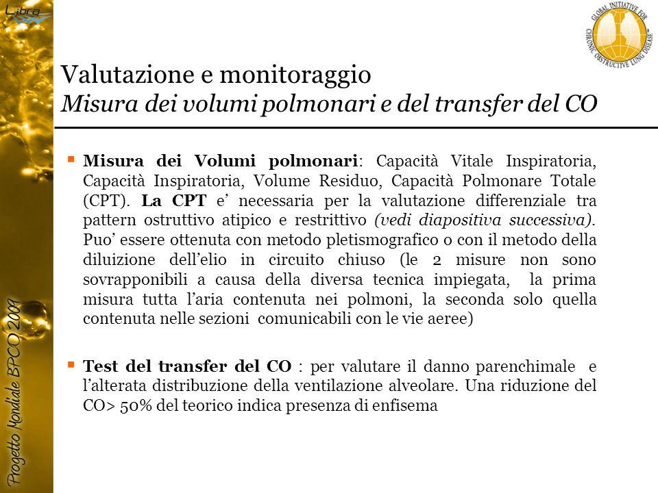 Valutazione e monitoraggio Misura dei volumi polmonari e del transfer del CO