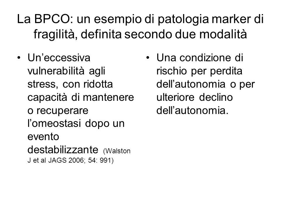 La BPCO: un esempio di patologia marker di fragilità, definita secondo due modalità