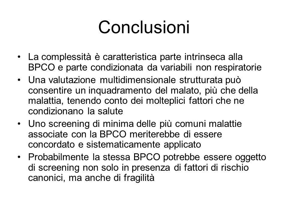Conclusioni La complessità è caratteristica parte intrinseca alla BPCO e parte condizionata da variabili non respiratorie.