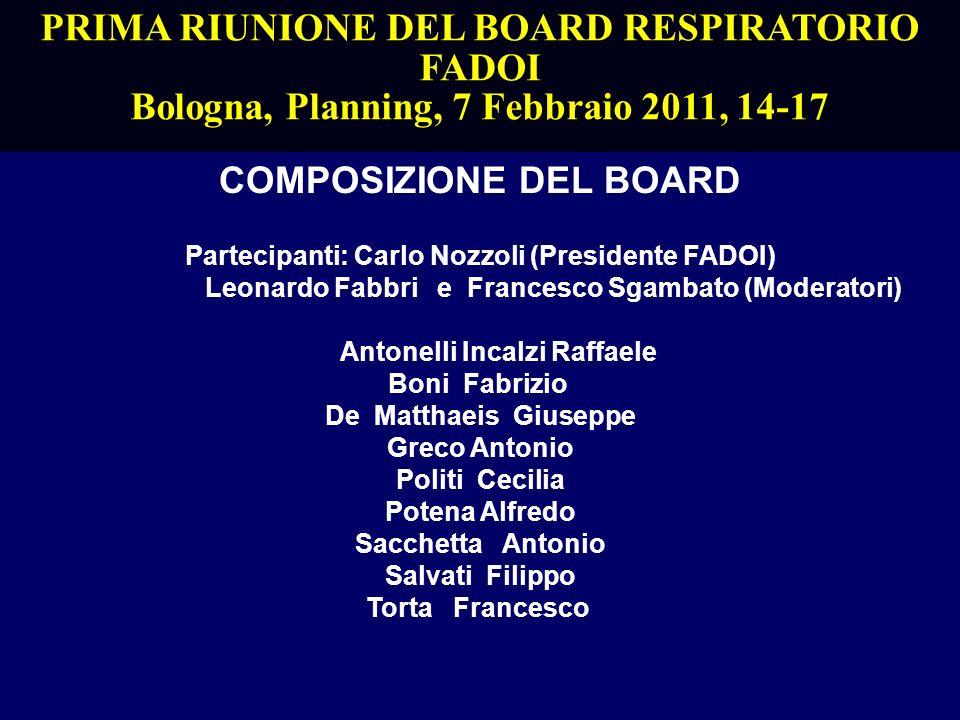 PRIMA RIUNIONE DEL BOARD RESPIRATORIO FADOI Bologna, Planning, 7 Febbraio 2011, 14-17