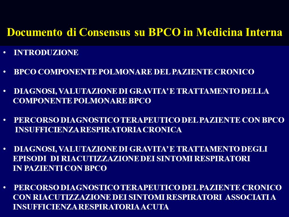 Documento di Consensus su BPCO in Medicina Interna