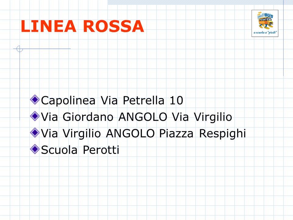 LINEA ROSSA Capolinea Via Petrella 10 Via Giordano ANGOLO Via Virgilio