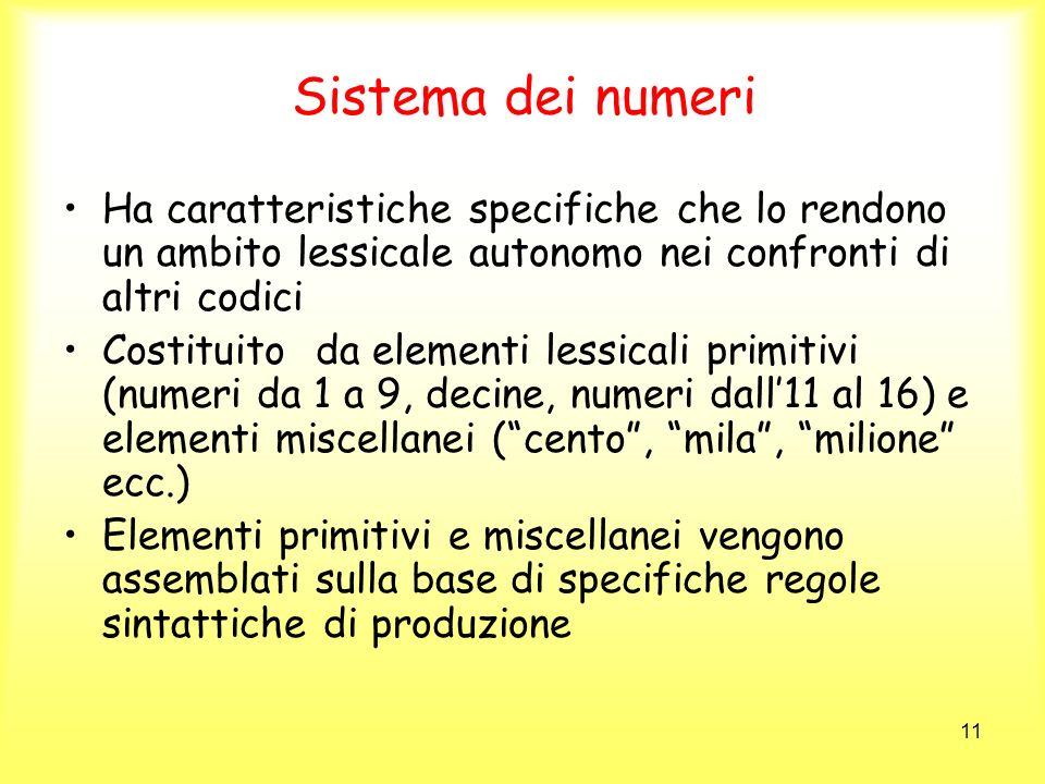 Sistema dei numeri Ha caratteristiche specifiche che lo rendono un ambito lessicale autonomo nei confronti di altri codici.