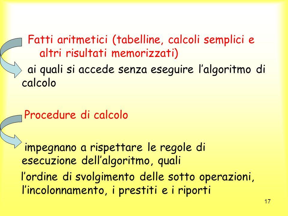 Fatti aritmetici (tabelline, calcoli semplici e