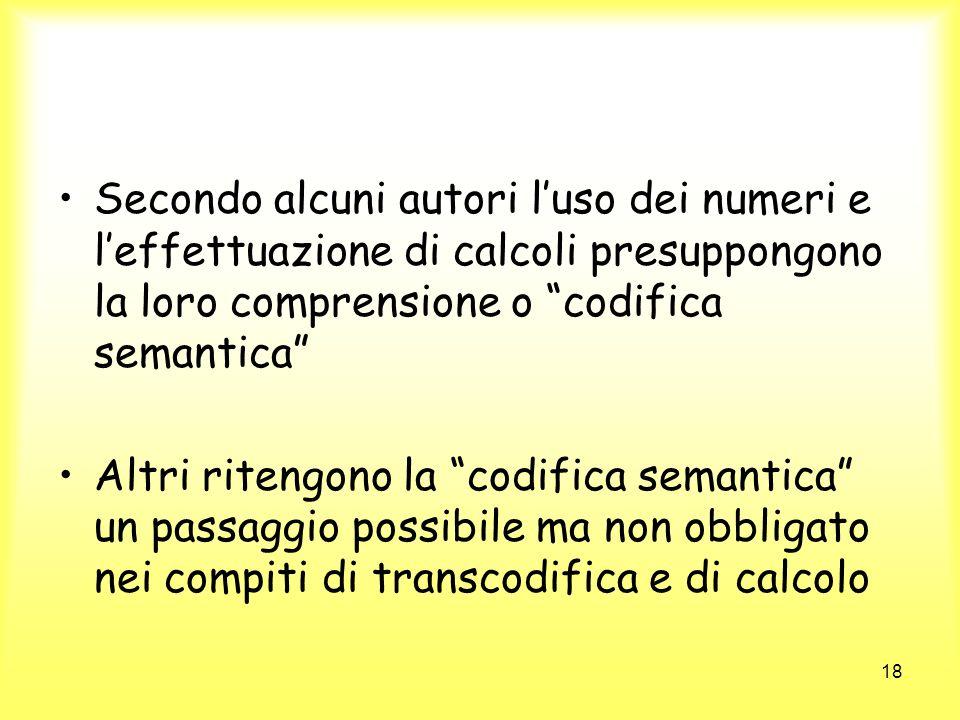 Secondo alcuni autori l'uso dei numeri e l'effettuazione di calcoli presuppongono la loro comprensione o codifica semantica